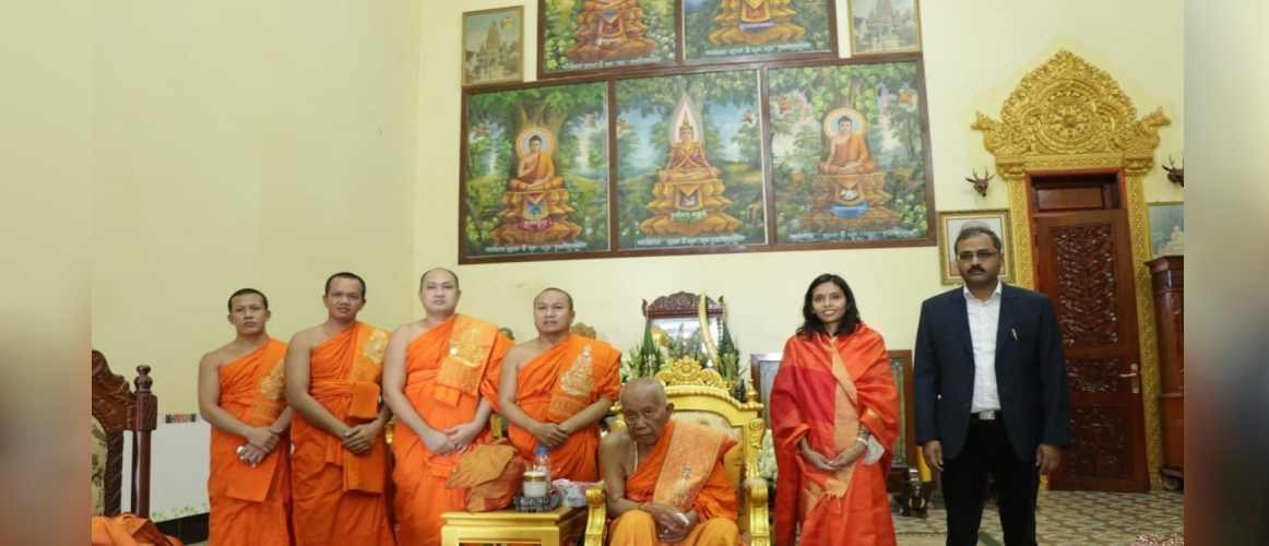 Meeting of Ambassador of India with His Holiness Tep Vong, Supreme Patriarch of Maha Nikaya Sangha of Cambodia